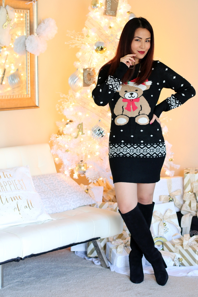 Tipsy Elves Christmas Sweater Dress, Teddy Bear Santa
