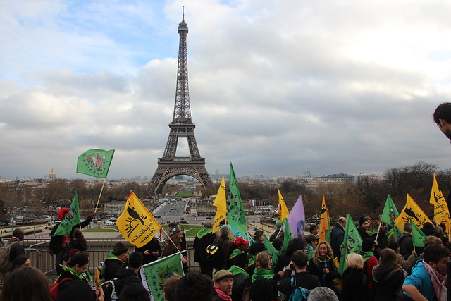 Paris march for climate justice Arc de Triumph to Eiffel tower