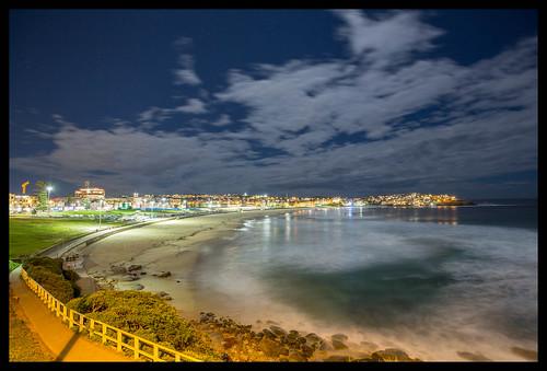 Bondi Beach at night - looking north