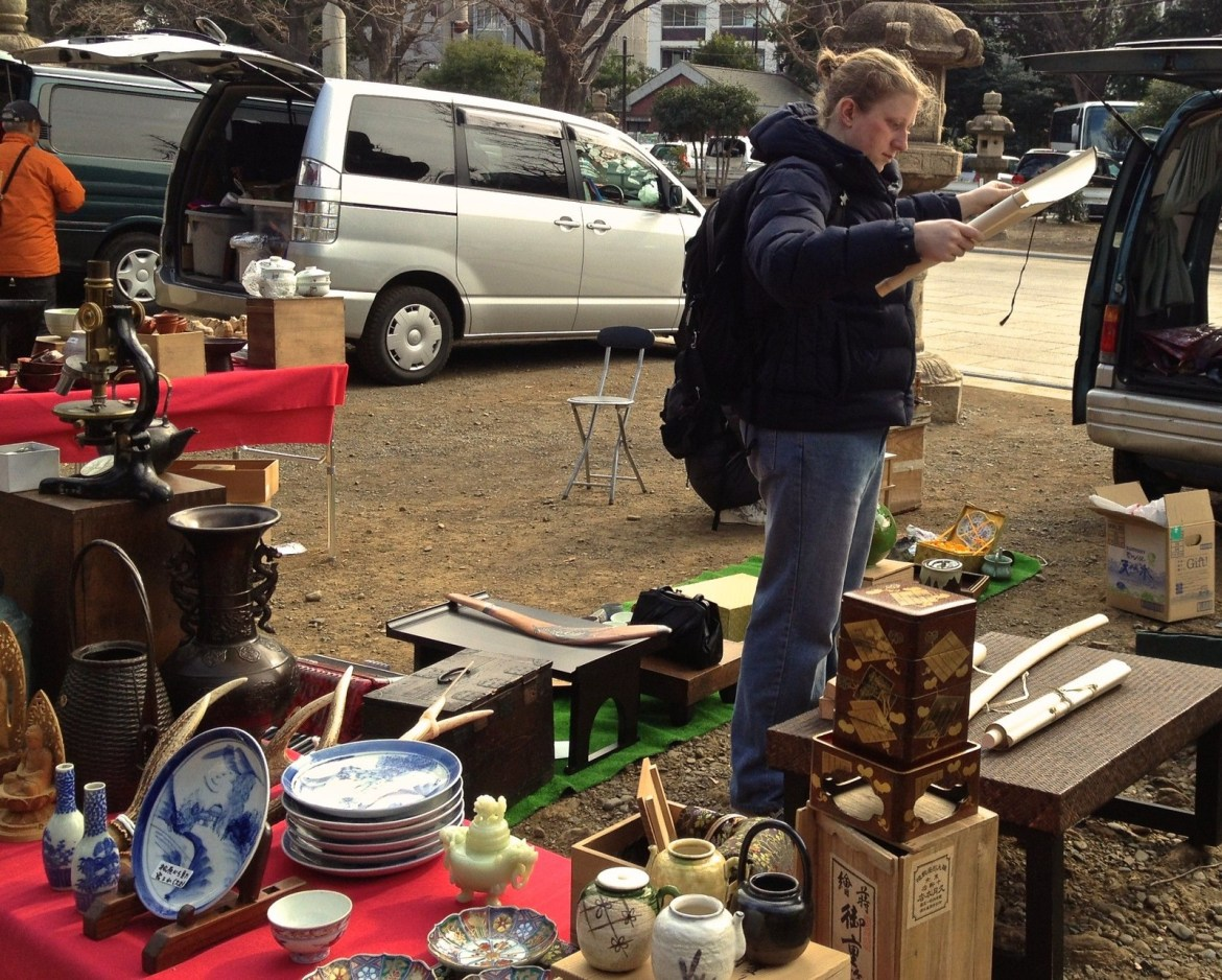 Foreigners at Antique Market at Yasukuni Shrine