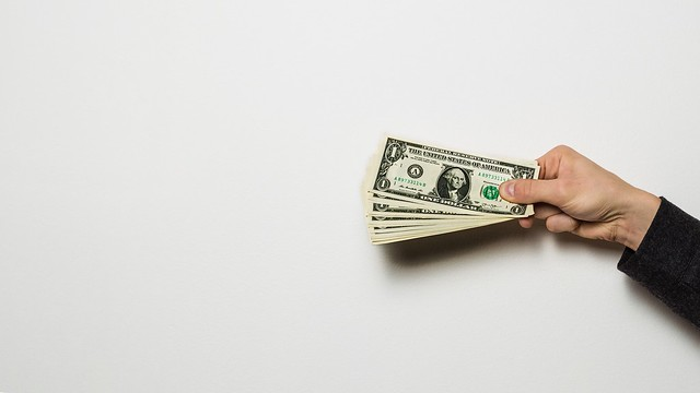 Money in hands, white background