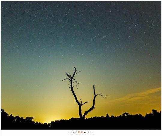 Het verschil: een satelliet spoor, twee iridium flares (een lange en een korte) en een meteoriet.