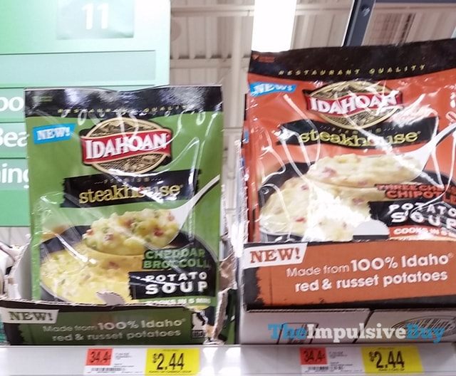 Idahoan Steakhouse Cheddar Broccoli and Three Cheese Chipotle Potato Soup