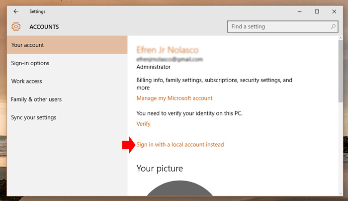 Switch Microsoft account to local account