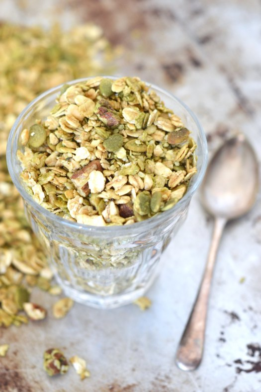Maple matcha granola in a glass.