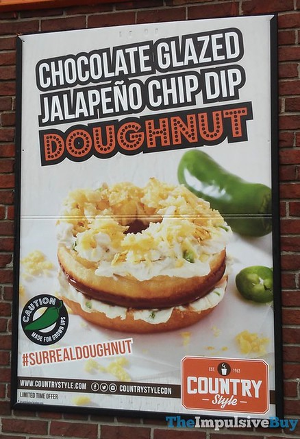 Country Style Chocolate Glazed Jalapeno Chip Dip Doughnut
