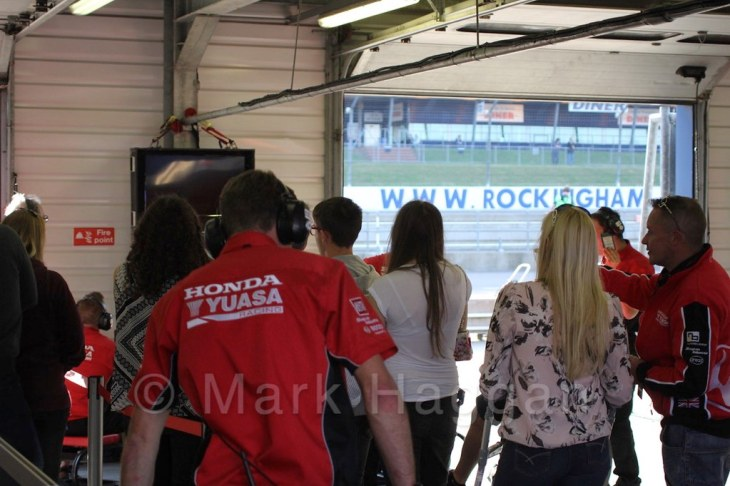 In the Honda garage at the BTCC at Rockingham 2015