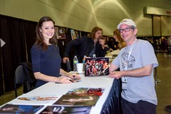 Summer Glau with the fan