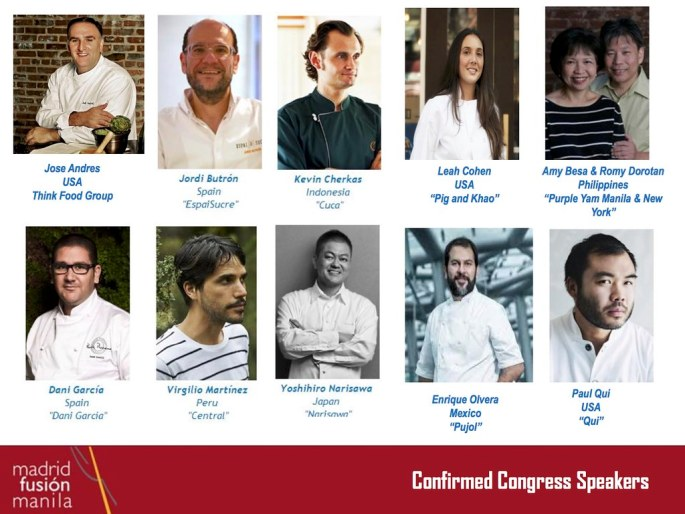 Confirmed Chefs as of Nov 26