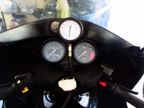 Attaching Oil Test Gauge to Instrument Cluster For Test Ride