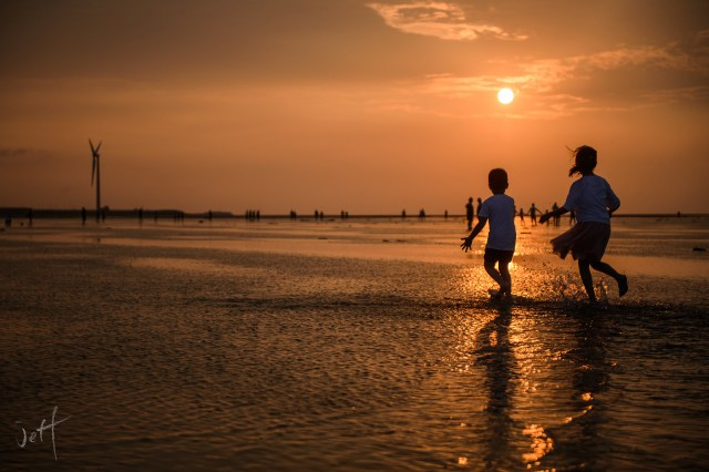 高美濕地,夕陽,親子照