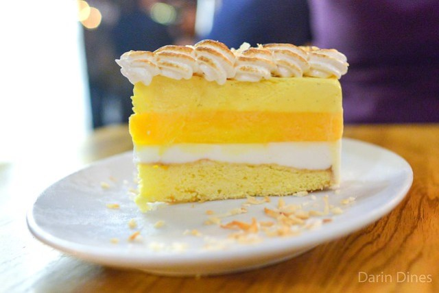 Creamsicle Torte. buttercake, coconut. sour tangerine. meyer lemon. italian meringue. toasted coconut.