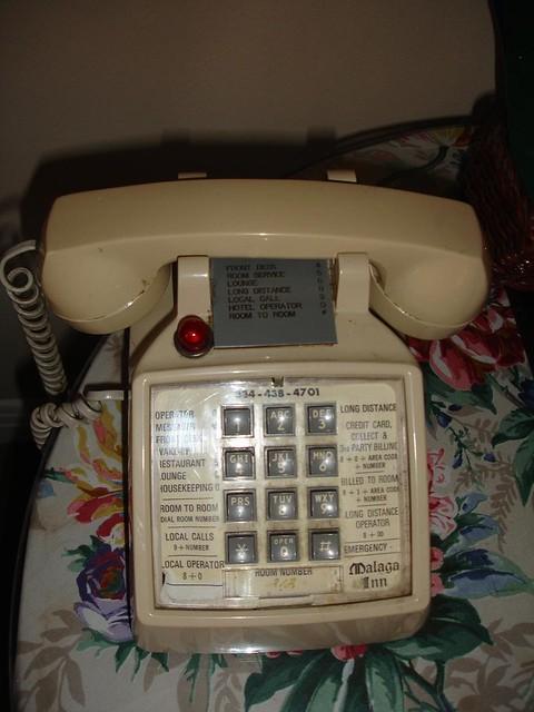 Yuk: phone in room at Malaga Inn (2005)