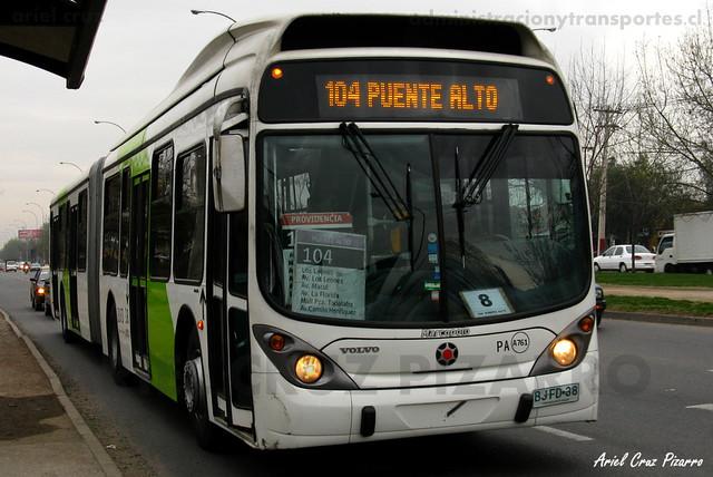 Transantiago - Inversiones Alsacia - Marcopolo Gran Viale / Volvo (BJFD38)
