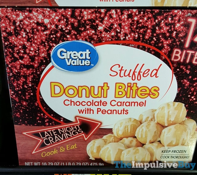 Great Value Late Night Cravings Chocolate Caramel with Peanuts Stuffed Donut Bites