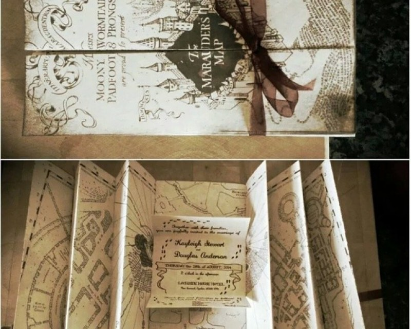Our Marauder's map invites at this Scottish Harry Potter wedding on @offbeatbride