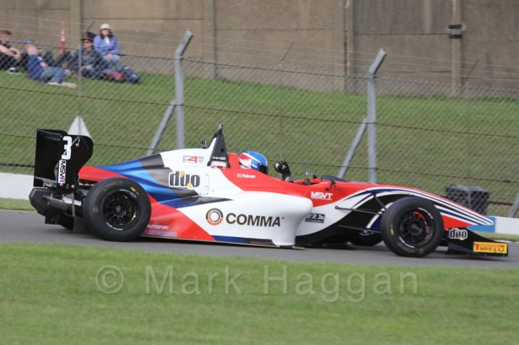 Will Palmer celebrates winning the championship after BRDC F4 Race 3 at Donington Park, September 2015