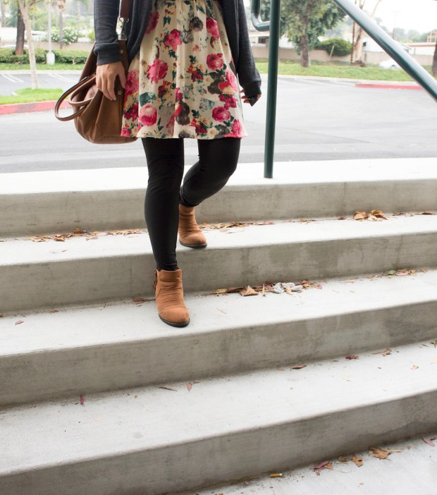Floral Fit and Flare Dress and Brown Boots