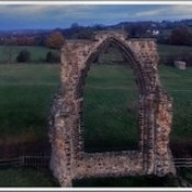 The Dale Abbey Arch pictured by Drone - near dusk - November 18th 2016.