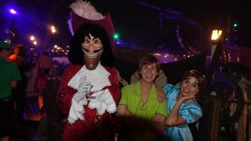 Capt Hook, Peter Pan and Wendy at Disneyland Halloween Party