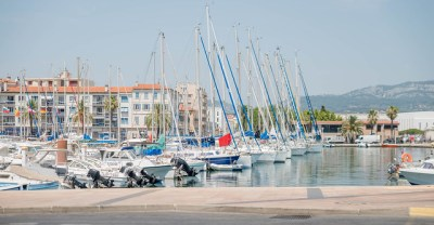 Toulon France civilan harbour with many sail boats