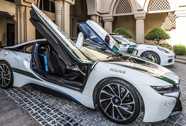 Look who stop by the main entrance today! BMW i8 Dubai Police Patrol Cars