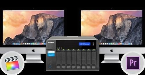 แชร์เนื้อที่เก็บข้อมูลบน QNAP TVS-871T ให้กับเครื่อง Mac สองเครื่องผ่าน Thunderbolt 2 สองพอรืต