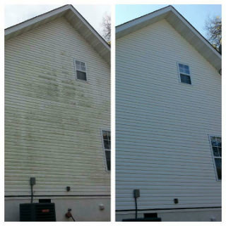 Soft wash vinyl siding house wash