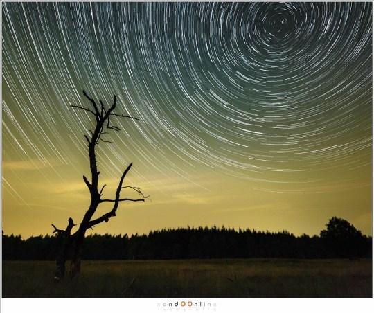 Sterrenspoor van 127 foto's van 30 seconden belichtingstijd. Zo krijgen al die foto's zonder vallende ster toch een doel.