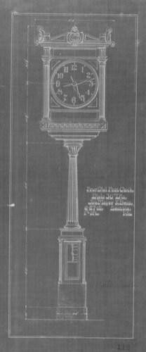 Large 4-dial clock blueprint, Joseph Mayer, 1912