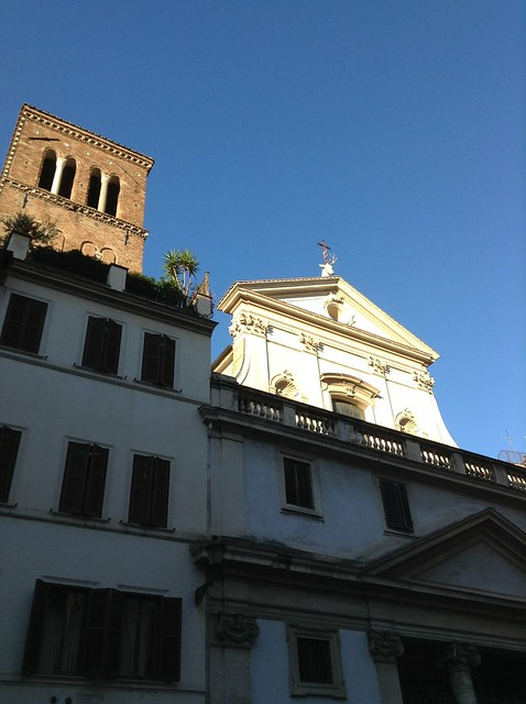 Church of San Eustachio, Rome, with the statue of the stag with the Christian cross between its antlers.