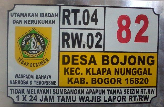 Plat Nomor Rumah Kelapa Nunggal Bogor
