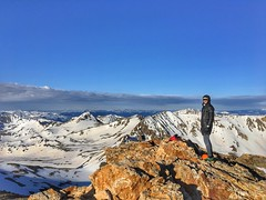 Epic shot of Matt looking towards the west from the Mount Belford summit