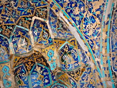 Beautiful designs on ceiling of Blue Mosque of Tabriz, Iran