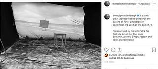 Página do fotógrafo no Instagram, dando a notícia da morte