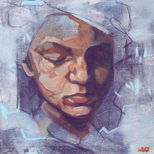 Portrait study, carboncino e olio su tela, 30x30, 2019