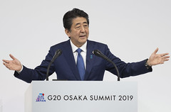Prime Minister of Japan Shinzo Abe holds press conference after the conclusion of a successful G20 Summit at INTEX Osaka, Japan on June 29, 2019.