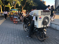 Motorcycle with air conditioning