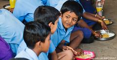kids eating millets at school