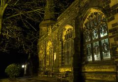 Ormskirk Parish church at night