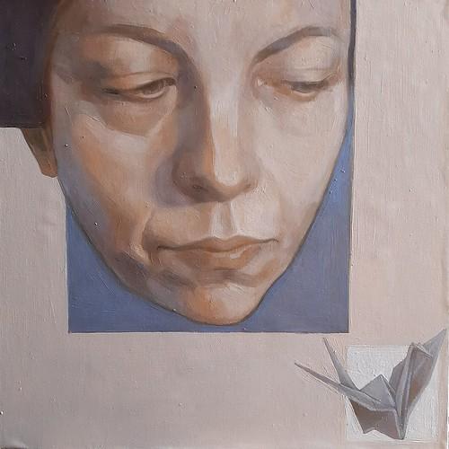 Autoritratto al chiuso, olio su tela su pannello in scatola di legno, 2020