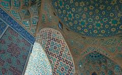 Beautiful Islamic architecture inside landmark Jameh mosque of Yazd, Iran