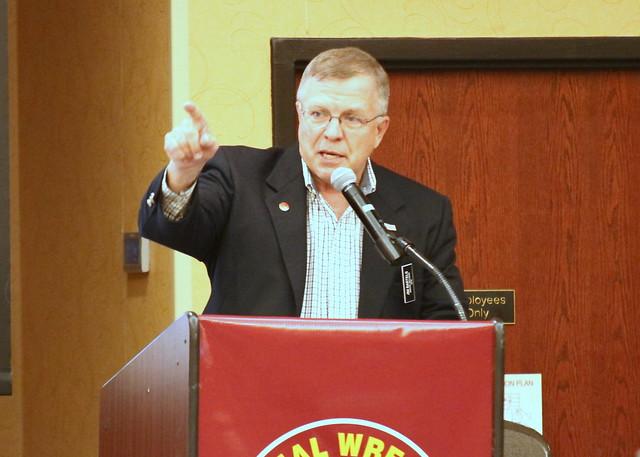 2019 National Wrestling Hall of Fame, Minnesota Chapter Lifetime Service inductee Jim Bartels. 190427AJF0154