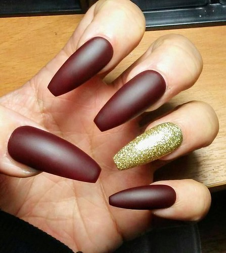 Long Matte Coffin Nails Burgundy Maroon & Gold Glitter, Red Press on Glue on, Acrylic False Fake Nails, Also Stiletto, Square, Oval, Short
