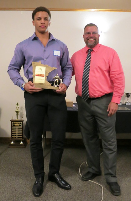 "2019 MWCA Mr. Minnesota Wrestler Daniel ""Greg"" Kerkvleit of Simley and Kip Lynk. 190504AJF0854"