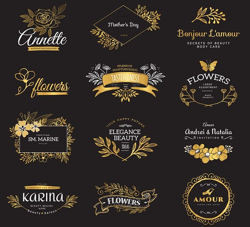 Set of gold luxury logos