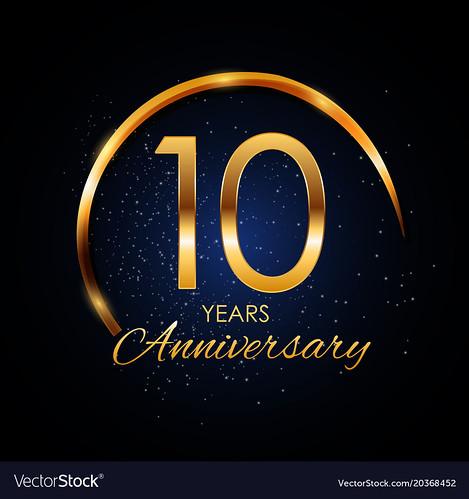 Template Logo 10 Year Anniversary Vector Illustration