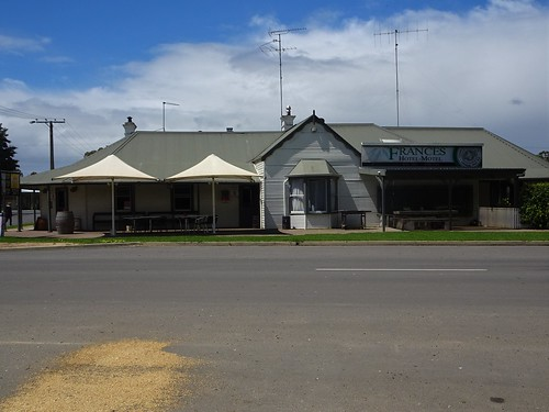 Frances in the Tatiara. The oldest part of this hotel was licensed in 1883 when the railway from Naracoorte reached the town. Wheat spilt on the road.