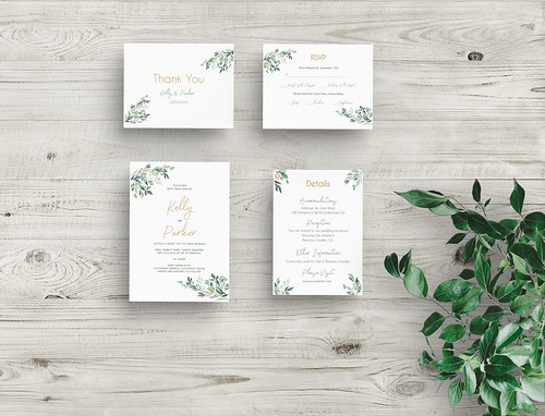 Greenery Wedding Invitation Template Set, Editable Invitation, Printable Invitation, Rsvp Card, Thank You Card INSTANT DOWNLOAD