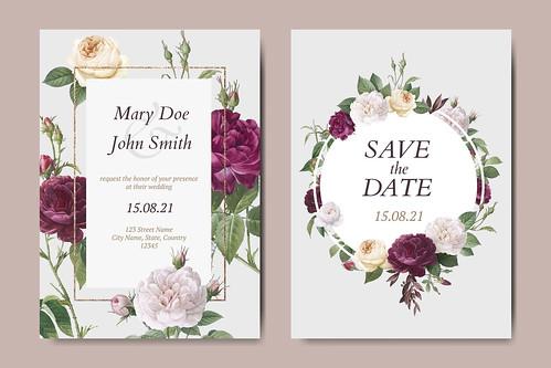 Floral wedding invitation card vectors set